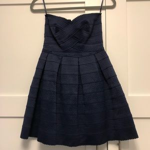Bandage style A-Line navy dress